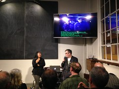 Karen Marcelo at The Interval November 02014 (Long Now) Tags: sf sanfrancisco technology events culture research labs machines dorkbot survival srl karenmarcelo fortmasoncenter theinterval 02014 salonevents intervalatlongnow
