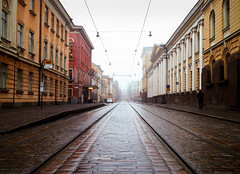 End of the Line (samikahkonen) Tags: street travel winter mist classic fog architecture suomi finland outdoor horizon tram rail explore scandinavia aleksanterinkatu neoclassic hesinki