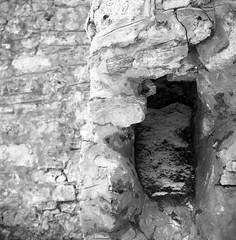 Stonework detail - Old Mill, Doon, Ontario (Richard Wintle) Tags: blackandwhite bw ontario canada mill 120 6x6 tlr film monochrome stone wall mediumformat square stonework squareformat mf ilford fp4 voigtländer v6 doon twinlensreflex skopar brillant adox fx39 ilfordfp4125 film:brand=ilford film:iso=125 film:name=ilfordfp4125 filmdev:recipe=10612