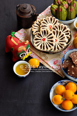 Chinese new year sweet treats (TailorTang) Tags: stilllife food dessert 50mm cookie tea pastry teabreak madeleine kumquat 5014 foodphotography chinesedessert