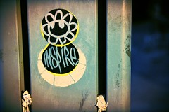 Tel Aviv Reminds Me Of Me... (www.InspireCollective.com) Tags: street black flower art yellow circle graffiti words telaviv sticker artist circles signature tel aviv east chrome artists middle inspire iconography yafo lettters