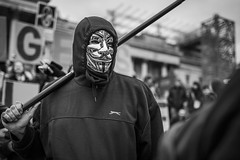 20160303_F0001: Anonymous portrait (wfxue) Tags: street people blackandwhite bw london metal mask candid crowd protest guyfawkes trafalgarsquare anonymous protesters