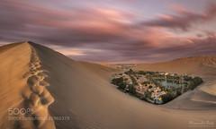 Oasis (PhiladelphiaHVAC165) Tags: sunset sky panorama peru clouds landscape sand long exposure desert dunes oasis huacachina