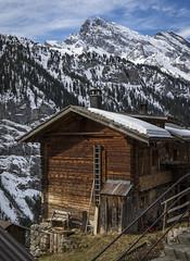 Shack on a cliff (Robert Moranelli) Tags: sky snow barn switzerland cabin bern lauterbrunnen ch gimmelwald