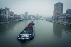 Le rve de la pniche... (Gilderic Photography) Tags: city bridge mist canon river belgium belgique belgie pont liege ville brume meuse fleuve peniche g7x gilderic