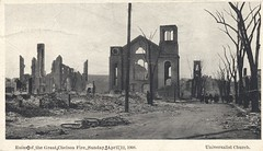 Universalist Church - Chelsea, Massachusetts (The Cardboard America Archives) Tags: vintage fire chelsea massachusetts postcard 1908 cityinruins