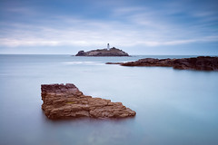 Lighthouse on the rocks (~g@ry~ (clevedon-clarks)) Tags: uk longexposure sunset sea england lighthouse seascape clouds landscape coast rocks europe cornwall coastal godrevy ndfilter daytimelongexposure 10stop milkywater hitechfilters mistyrocks