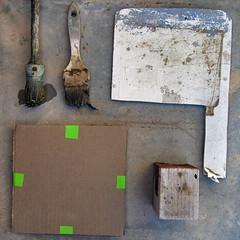 treasure (maximorgana) Tags: green wet compo brush tape cardboard present zenit palette
