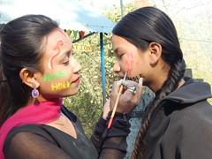 Didi Pramila paints Bahini Sadikshya KC's face (rukmini_foundation) Tags: nepal colors celebration holi didi mentoring