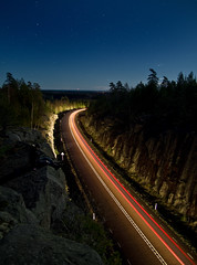 roadlight (dovlindphoto) Tags: road longexposure light sky nature car night stars landscape pentax sweden ml carlight dovlind dovlindphoto