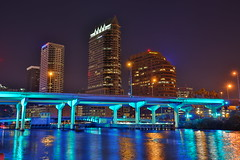 Downtown Tampa (Mettwoosch) Tags: city longexposure trip travel bridge vacation sky urban usa holiday color building water skyline architecture night america canon river tampa lights town wasser downtown cityscape darkness unitedstates angle florida nacht outdoor urlaub wide himmel stadt architektur amerika brcke fluss gebude lichter huser langzeitbelichtung 5dm3