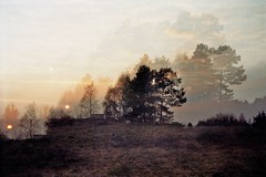 At the end of comfort zone. (AirSonka) Tags: sunset film silhouette analog 35mm landscape lomo sonnenuntergang dusk toycamera multipleexposure analogue smena coucherdesoleil smena8m multiplied pelcula filmphotography pellicule kodakgold200 mehrfachbelichtung