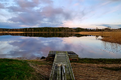 Moody lake (Bent Velling) Tags: blue trees sunset lake green water norway clouds reflections norge fuji jetty norwegen gras 1855mm ise hdr sarpsborg xt1 isesj bentvelling