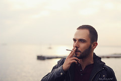 Smoking kills (Dasha May) Tags: sea man face smoke istanbul turkish sigarette