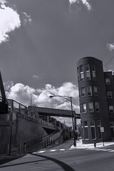 Bloomingdale Trail east pic18 4-25-2016 (Artemortifica) Tags: street bridge sky chicago cars clouds buildings construction blueline crane bikes graffity milwaukee western trucks damen