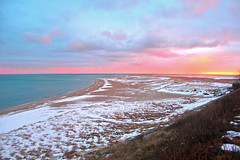 Chatham, Cape Cod: Winter Sunset at Chatham Light Beach (Chris Seufert) Tags: winter sunset snow storm beach squall capecod chatham squal