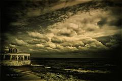 """El Tintero (II)"" (Ilargia64) Tags: sky seascape sepia vintage landscape restaurant mediterranean dramatic dramaticsky torrevieja virado tintero amayasanchez"