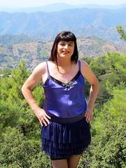 Happy (Paula Satijn) Tags: mountains hot sexy girl sunshine outside purple silk cyprus skirt tgirl transvestite satin miniskirt gurl