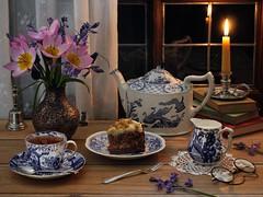 Tea and Tulips (memoryweaver) Tags: china stilllife cake silver candle tulips tea antique teapot candlestick cupoftea blueandwhite beeswax englishtea membersrowener
