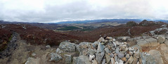 Panorama from Creag Bheag, 2016 Mar 23 (Dunnock_D) Tags: uk sky cloud forest woodland river grey scotland highlands cloudy unitedkingdom britain stones heather highland cairn spey strathspey badenoch creagbheag