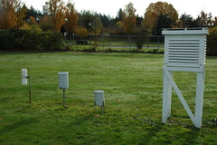 UBC Climate Station - Rain Gauges and Stevenson Screen (ubcmicromet) Tags: rain ubc research temperature gauges precipitation weatherstation universityofbritishcolumbia stevensonscreen climatestation totemfield