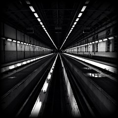 Perspective (Michael Adedokun) Tags: blackandwhite building london water ahead architecture train lights view perspective creative experiment railway pit dirty symmetry line londonunderground myfavourite trainmaintenance