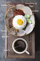 Malaysian Breakfast - Nasi Lemak + Kopi-O (hanks studio) Tags: food photography cuisine design photo singapore cucumber stock creative peanuts foodporn malaysia stockphotos local taste johor  nasilemak stockphoto sambal bahru    ikanbilis    kopio sunnysideupegg  hanksstudio  hanks55