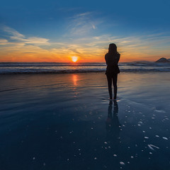 013_2847: Ocean Beach (Shawn-Yang) Tags: ocean california sunset reflection beach girl bay san francisco area