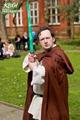 IMG_8951 (Neil Keogh Photography) Tags: fiction red brown white black anime green silver comics grey starwars belt beige pants robe top films science videogames button jedi sword scifi cape sciencefiction lightsaber buckle jediknight starwar jedimaster nwcosplayeastermeet2016