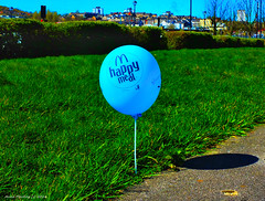 Scotland Greenock the riverside walk growing wild a McDonald's happy meal balloon...giggle  20 April 2016 by Anne MacKay (Anne MacKay images of interest & wonder) Tags: blue by happy anne scotland greenock riverside walk balloon picture mcdonalds meal april mackay 20 2016 xs1