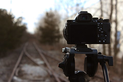 Camera Waiting (FotodioxPro) Tags: landscape bokeh tripod traintracks beautyshot shallowdepthoffield cameraporn shallowdof lensadapter sonya7