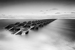 Groynes Smooth Water (GOLDENORFE) Tags: longexposure bw water 10stopnd bigstopper 5dsr