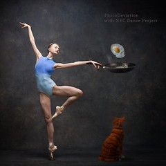 Ballerinas Breakfast (photodeviation) Tags: ballet breakfast cat photomanipulation dance ballerina mashup egg creative meal friedegg fried funnypictures balletdancer newyorkcityballet ballerinadeviation