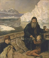 John Collier  The Last Voyage of Henry Hudson, 1881. Painting: Oil on canvas. Tate London. In 1611, while on an expedition to find the North-West Passage, explorer Henry Hudson and his son were cast adrift by his mutinous crew. Their fate was unknown but (ArtAppreciated) Tags: art history century john collier painting darkness northwest fineart blogs henry artists late british hudson passage explorers pintura 19th realism cannibalism peintre imagined 1880s artblog artblogs tumblr artoftheday artofdarkness academicism date1881 artappreciated artofdarknessco artofdarknessblog artofdarknesscovu
