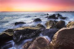 Painting (Luca Romano) Tags: longexposure travel sunset sea colors relax rocks colorful tramonto mare glow outdoor shoreline dreams coastline rocce viaggio seasunset tramontomare