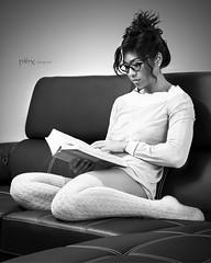 Cute studies (danielpi39) Tags: woman cute sexy girl canon studio asian glasses blackwhite noiretblanc babe lingerie brunette lunette blackdiamond asiatique sensuelle canon50d