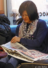 Another quick read (Row 17) Tags: city uk england people urban woman female person town cafe women candid gb hereford
