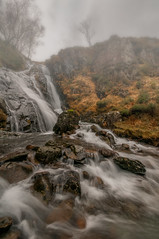 The Fog (einir.leigh) Tags: uk trees mountain colour water weather fog wales landscape waterfall nikon women rocks britain hill welsh snowdonia rugged