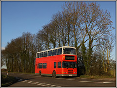 Hunted down! (Jason 87030) Tags: road school trees light red sky dublin bus work canon eos volvo nice flickr afternoon village northamptonshire sunny run alexander february northants doubledecker 2016 braunston 50d a361 centralbuses r274lhk weltonroad