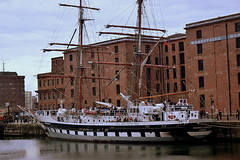 A tall ship, of the Tall Ship Youth Trust Docked in Liverpool (jhonnyclickplane) Tags: water liverpool sailing ship vessel maritime tall masts rigging albertdock merseyside