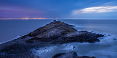 Mumbles lighthouse split sky (ryland.marsh) Tags: sea cliff lighthouse water rock night dawn coast lighthousesea lighthouseblue lighthousedark lighthouseswansea