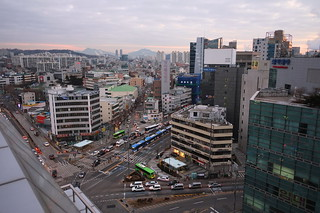 Seoul Korea Sinseol dong area skyline view from top floor balcony -