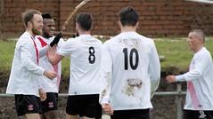 Joel Kasubandi takes the congratulations of his team-mates (Stevie Doogan) Tags: park west scotland scottish first super juniors division league holm clydebank bole maybole bankies mcbookiecom