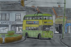Wolverhampton trolleybus sketch (Lady Wulfrun) Tags: sketch drawing trolleybus wolverhampton 491 darlaston wct fjw491