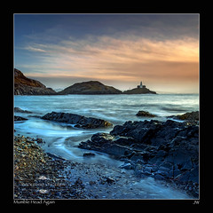 Mumble Head Again (jeremy willcocks) Tags: uk sea cliff lighthouse colour beach sunrise shore waleswelsh jeremywillcocks mumblehead fujixt1 1855xf wwwsouthwestscenesmeuk