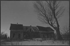 (Alex Blais) Tags: old winter sunset sky house film 35mm ruins long exposure quebec kodak sherbrooke abandonned ektar
