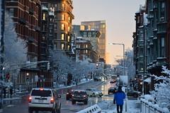 light traffic at dusk (hansntareen) Tags: road winter sunset snow cars sunshine evening traffic dusk pedestrian berklee clearingstorm