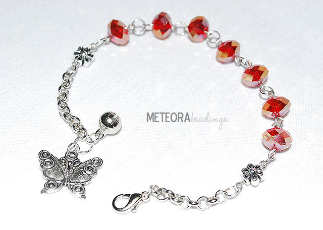Bracelet - red beads with butterfly charm