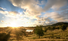 Rveil au Vauclin (25yo | French | Photo-Retoucher) Tags: morning blue sky orange lake reflection clouds photoshop montagne sunrise river de landscape soleil early nikon martinique coucher ciel nuage paysage extrieur reveil matin vauclin d810 kirawashere