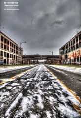 On Such A Winter's Day (DetroitDerek Photography ( ALL RIGHTS RESERVED )) Tags: street bridge winter urban usa snow plant abandoned car sign digital america canon graffiti grande automobile midwest closed industrial factory decay michigan urbandecay detroit ruin automotive icon faded walkway 5d weathered february middle hdr blvd dilapidated allrightsreserved packard mkii manufacture albertkahn 313 motown motorcity 2016 3exp detroitderek ghostsig